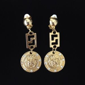Gold Tone White Crystal Clip On Earrings